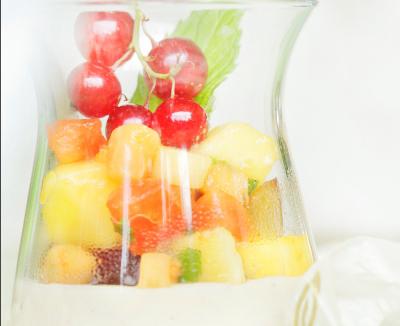 Vanillepudding mit Orientalischem Fruchtsalat